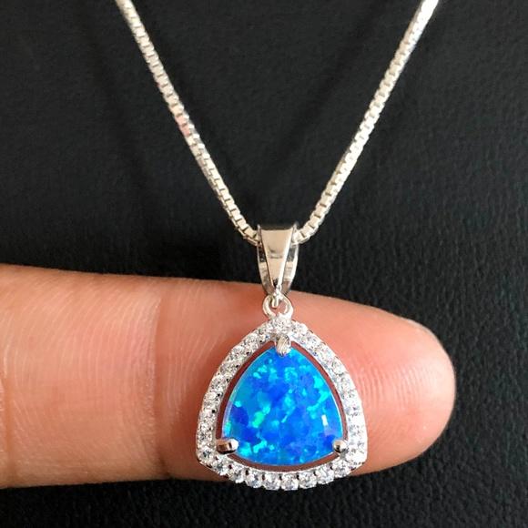 SOLID TRILLION SHAPE BLUE OPAL .925 Sterling Silver Earring